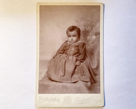 Antique Cabinet Card of Portrait of baby Girl, Faribault, Minnesota c. 1895