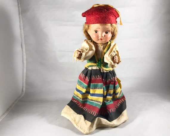 "Vintage Composition Doll - Light Red Haired Swedish Doll in Traditional Dress - 9 inch ""I am Greta from Sweden"""