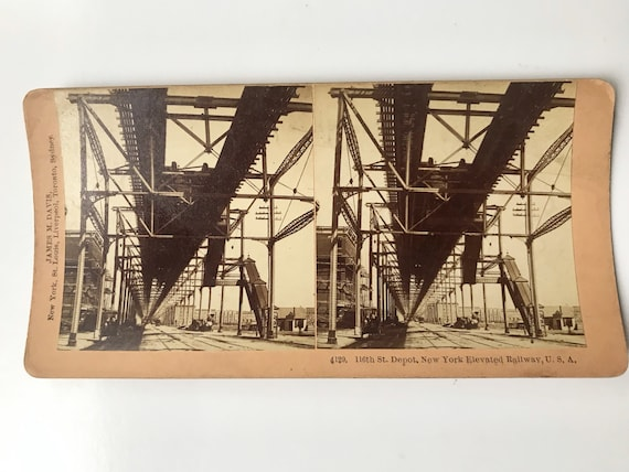 Antique B. W. Kilburn Stereoview - 116th St. Depot, New York Elevated Railway - James M. Davis