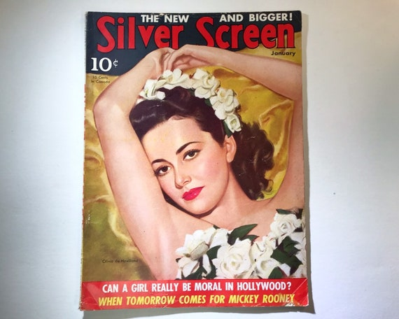 Silver Screen Magazine January 1941 - Cover Olivia de Haviland - Vintage Movie Magazine - Inside Edward G Robinson, Mickey Rooney, and More!