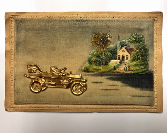 Antique Novelty Postcard - Die Cut and Embossed on Velvet with Gold Automobile and Lithograph Church