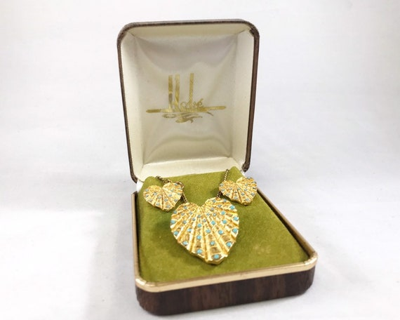 Vintage Signed Hobé Jewelry Heart Necklace and Earring Set - Gold Tone & Faux Turquoise in Original Gift Box