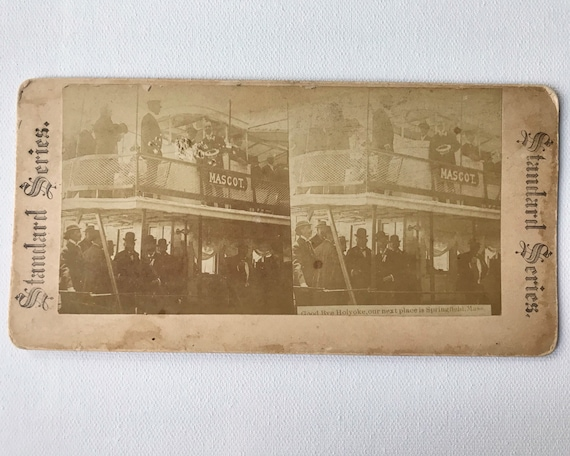 """Antique """"Standard Series"""" Sepia Stereoview - Steamer """"Mascot"""" on the Connecticut River, Massachusetts"""