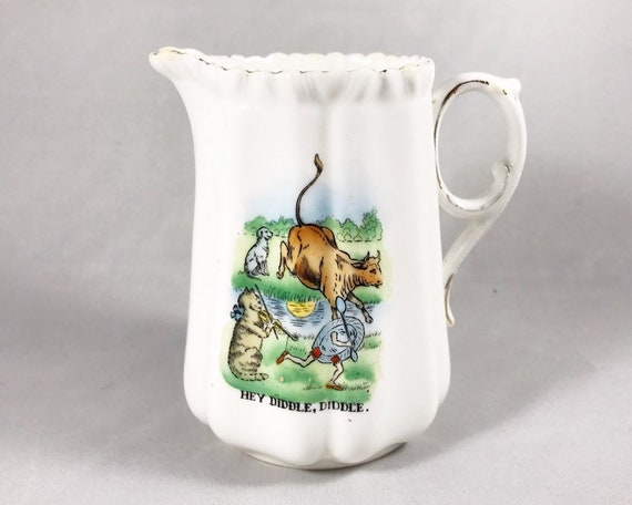 Antique Victorian Nursery Rhyme Creamer - Hey Diddle Diddle