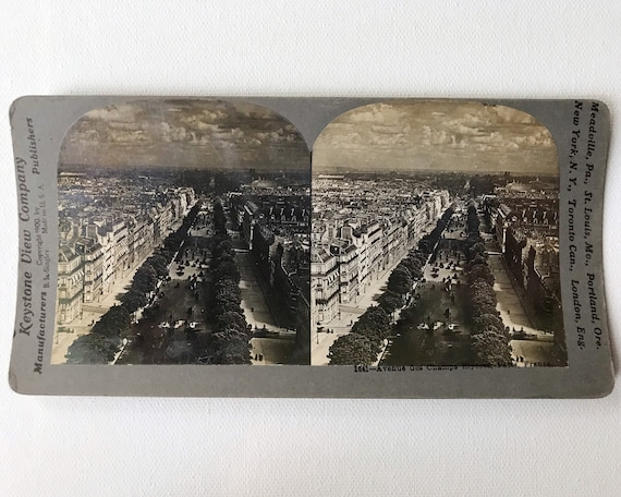 Keystone View Company Antique Stereoview of  Avenue des Champs Elysees, Paris France (B. L. Singley 1900)