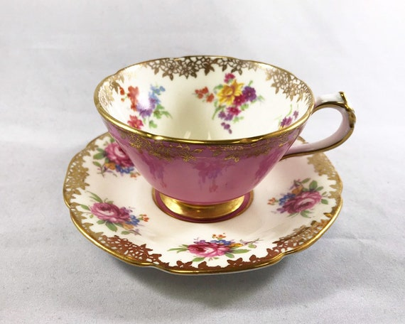 Paragon Bone China Demitasse and Saucer (Espresso Cup) - Double Warrant - Royal Warrant - Floral Pattern with Pink and Gold