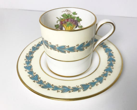 """Vintage Wedgwood """"Appledore"""" Demitasse and Saucer - Espresso Cup - Fruit Basket Motif - Cream and Blue with White and Gold Trim"""
