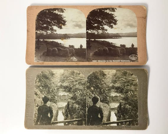2 Stereoviews of Scotland - Universal Photo Art Company - Scottish Highlands with Sheep & Hermitage Bridge - Stereo Cards C. H. Graves 1900