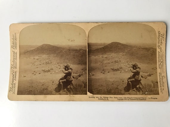Antique Stereoview: Looking into the Orange Free State - over 12th Brigade Camp and Signal Hill, Slingersfontein, South Africa, Boer War