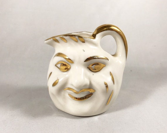 Vintage 1940s Man in the Moon Face Mini Pitcher - White and Gold