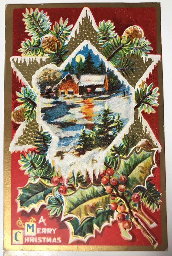 Antique Holiday Postcard - A Merry Christmas - Winter Scene - Embossed with Gold - Copyright M. L. Jackson