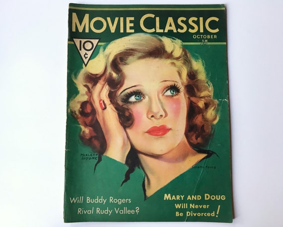 Movie Classic Magazine October 1931 - Cover Loretta Young Art by Marland Stone - Inside Marlene Dietrich, Janet Gaynor & Robert Montgomery