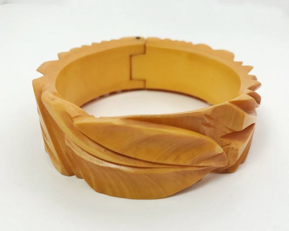 Bakelite Bracelet Deep Carved Hinged Bangle with Leaf Design 1930s or 1940s Unusual