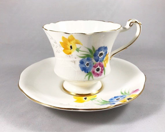 Paragon Bone China Teacup and Saucer -  Royal Warrant - Hand Painted Floral Design
