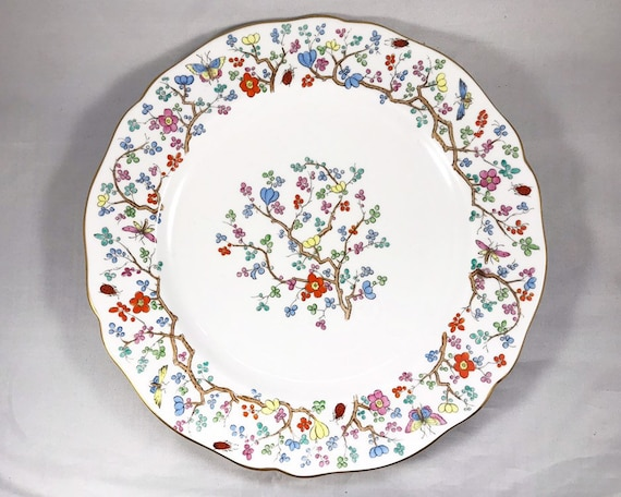 "Copeland Spode ""Shanghai"" Luncheon Plate - Pattern of Flowers and Insects"