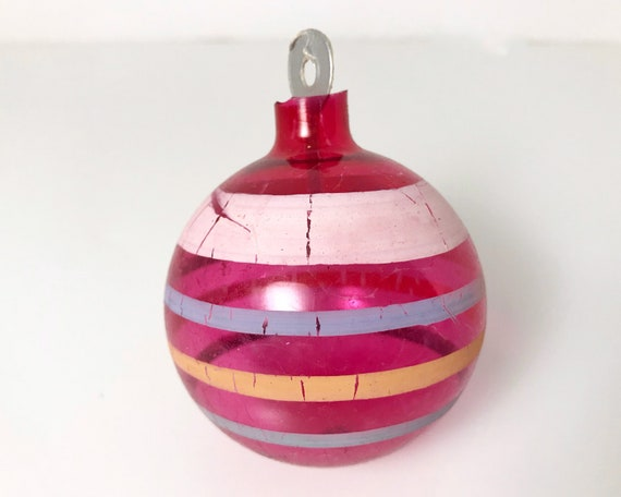 Vintage Glass Christmas Ornament - Striped Unsilvered WWII Xmas Decoration with Original Cardboard Hanger