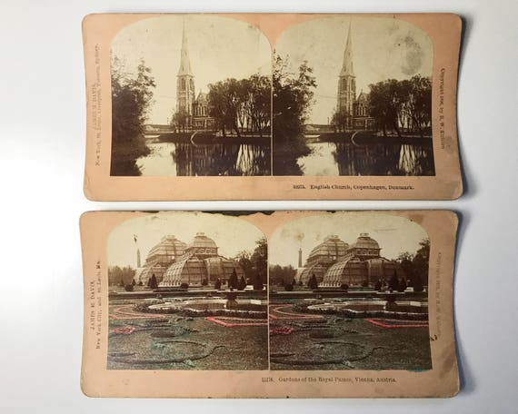 Antique B. W. Kilburn 2 Scenic Stereoviews: English Church, Copenhagen & Royal Palace, Vienna - Stereo Cards - James M. Davis 1896 and 1903