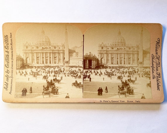 Antique Griffith & Griffith Stereoview St. Peter's, General View, Rome, Italy, William H. Rau, Photographer
