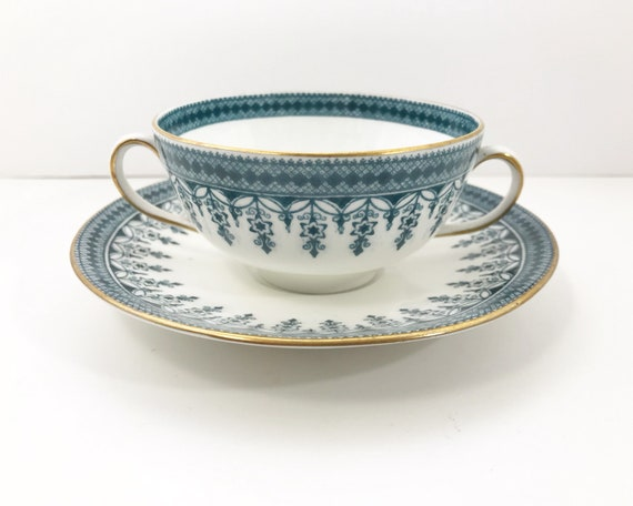 Antique Pointon & Co Stoke on Trent Teal and White Bouillion Cup and Saucer - Two Handled Teacup
