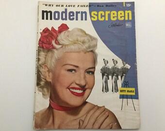 Modern Screen Magazine September 1949 - Cover Betty Grable - Vintage Movie Magazine - Inside Richard Widmark & Susan Hayward