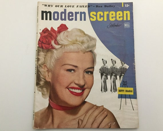 Modern Screen Magazine September 1949 - Cover Betty Grable - Vintage Movie Magazine - Inside Richard Widmark & Susan Hayward