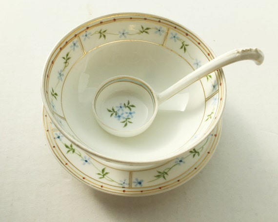 Antique Nippon Mayonnaise Bowl, Plate and Ladle - Little Blue Roses & Gold Gilt Floral Design - Hand Painted Condiment Dish
