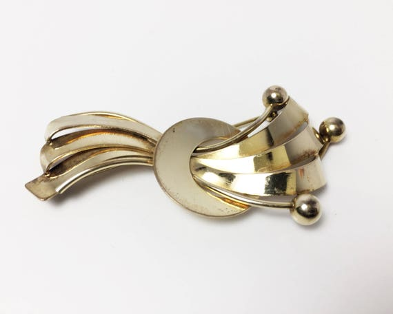Vintage Binder Brothers Jewelry Brooch - 12K Gold Fill - Mid Century Abstract Design