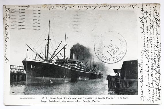 Antique Seattle Washington Postcard - Steamships Minnesota and Dakota in Seattle Harbor - 1906 - Undivided Back - Maritime History