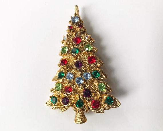 Vintage Costume Jewelry Xmas Tree Brooch - Christmas Bling!