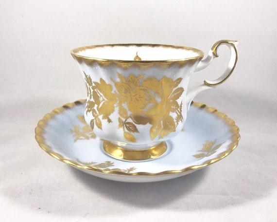 "Vintage Royal Albert ""Vintage Series"" - Pastel Blue and Gold Roses"