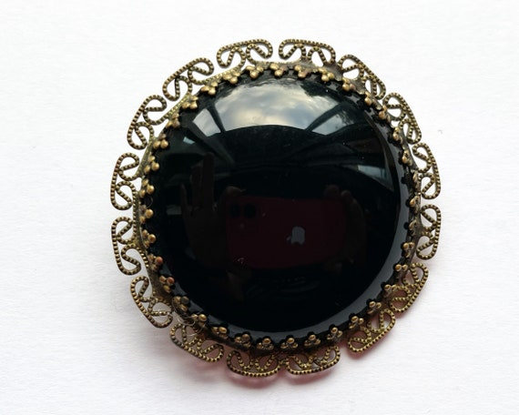 Large Black Glass (French Jet) and Brass Brooch, Marked W. Germany