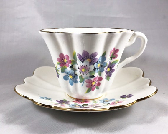 Vintage Lefton Bone China Floral Teacup and Saucer - Made in England - Teatime