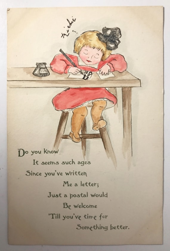 Antique Postcard - Charming Ink and Wash Drawing of a Little Girl Writing a Letter - Divided Back