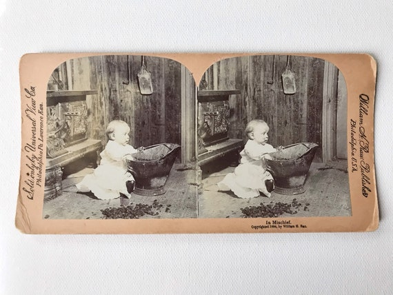 "Universal View Co. William H. Rau Stereoview ""In Mischief"" Baby in Coal Scuttle"