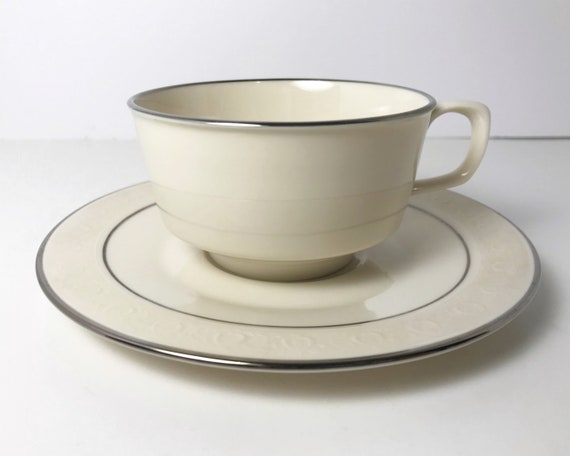 Vintage Franciscan Masterpiece Moon Glow Flat Cup and Saucer - Coffee Cup - Platinum and Embossed Trim