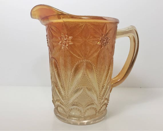 Marigold Carnival Glass Milk Pitcher - Imperial Glass Poinsettia