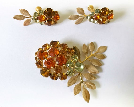 Vintage Hobé Jewelry Brooch and Earring Set - Signed Gold Tone with Orange & Yellow Stones and Diamante
