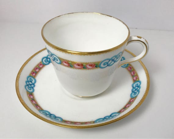 Vintage Minton China Pink Roses and Celtic Knot Teacup and Saucer - Fine Bone China with Hand Painted Design