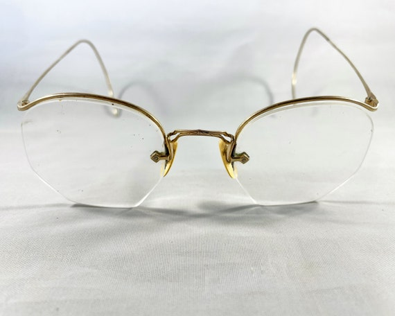 Vintage Eyeglasses (Spectacles) Octagonal Gold Fill Wire Frame with Celluloid Nose Pads American Optical 1/10 12K GF