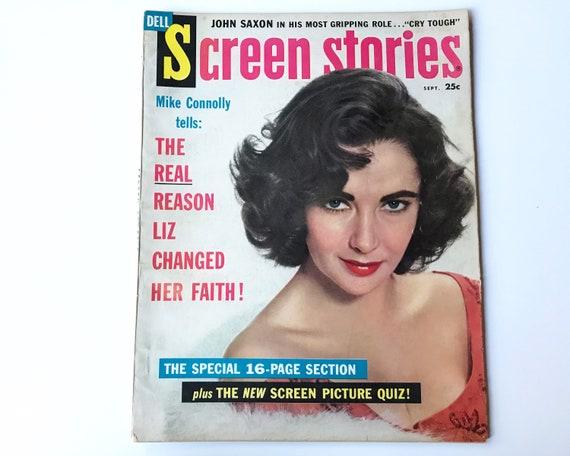 Screen Stories Sept1959 - Cover Elizabeth Taylor - Vintage Movie Magazine - Inside Doris Day, Rock Hudson, Alec Guinness, Brigitte Bardot
