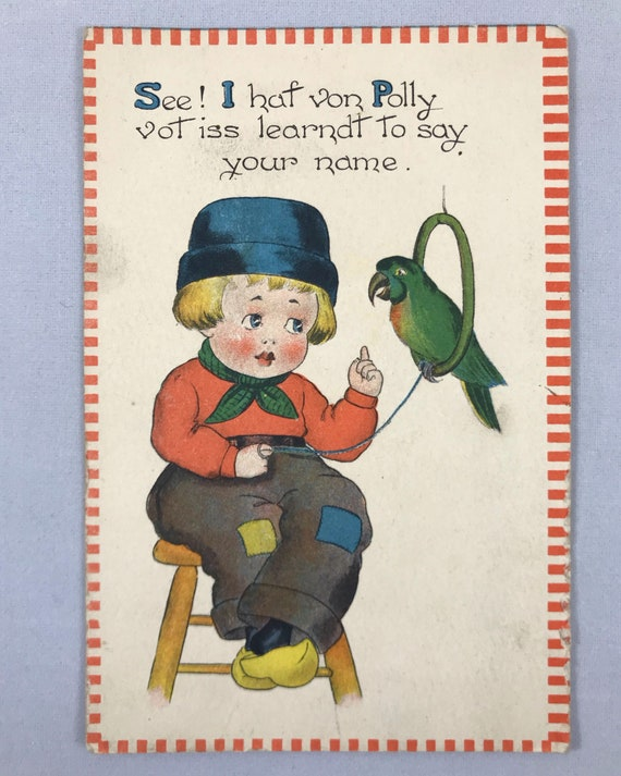Antique Postcard - Samson Brothers Dutch Kid in Clogs with Parrot - Divided Back