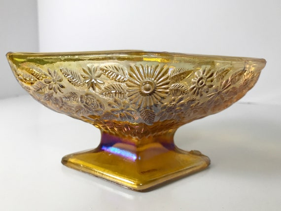 Indiana Glass Pineapple Floral Gold Carnival Glass Candy Compote