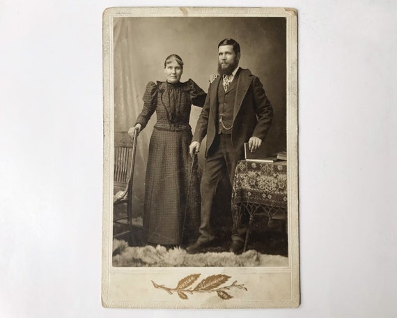 Antique Cabinet Card of Portrait of Hard-Working Couple from Kemmerer, Wyoming