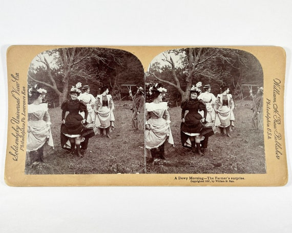"""Universal View Co. William H. Rau Stereoview """"A Dewy Morning - The Farmer's Surprise"""" Copyright 1897"""
