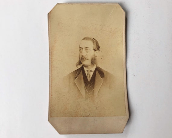 Antique Carte de Visite CDV Photograph of Victorian Man with Impressive Mutton Chops, Philadelphia, Pennsylvania