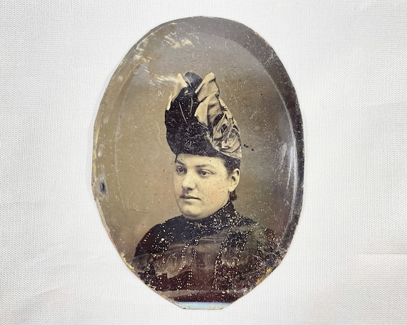 Antique Tintype Photograph of Victorian Woman with Elaborate Hat