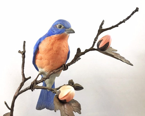 Vintage Boehm Songbirds of the Four Seasons Bluebird with Rose of Sharon