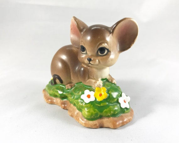 Vintage Mouse Figurine - Reclining on a Bed of Flowers - Cute