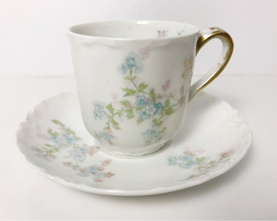 Haviland Limoges Demitasse and Saucer - Schleiger 29m - Blank #1 - Very Dainty - Pretty Blue Flowers, Pink, Green