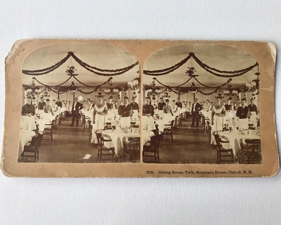 Antique Kilburn Brothers Sepia Stereoview - 2121. Dining Room, Twin Mountain House, Carroll, New Hampshire